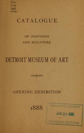 """Cover of """"Catalogue of paintings and sculpture, Detroit Museum of Art"""""""
