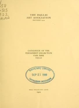 """Cover of """"Catalogue of the permanent collection, Fair Park, Dallas"""""""