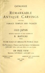 """Cover of """"Catalogue of remarkable antique carvings taken from famous temples and palaces of old Japan"""""""