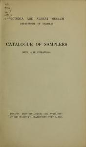 """Cover of """"Catalogue of samplers, with 16 illustrations"""""""