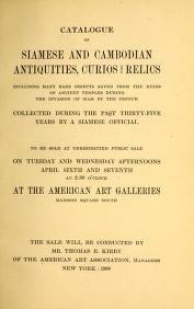 """Cover of """"Catalogue of Siamese and Cambodian antiquities, curios and relics including many rare objects..."""""""