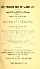 "Cover of ""Catalogue sale of an unrivaled collection of Japanese art treasures being a direct importation from Japan"""