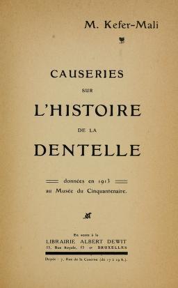 """Cover of """"Causeries sur l'histoire de la dentelle"""""""