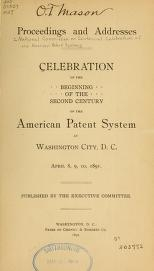 """Cover of """"Celebration of the beginning of the second century of the American patent system at Washington City, D. C., April 8, 9, 10, 1891"""""""