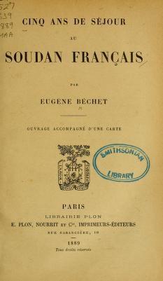 """Cover of """"Cinq ans de séjour au Soudan Français"""""""