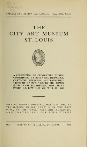 "Cover of ""A collection of decorative works, comprising paintings, drawings, cartoons, sketches, and reproductions of paintings by Mr. Edwin Howland Blashfield, Mrs. Mary Fairchild Low, and Mr. Will H. Low"""