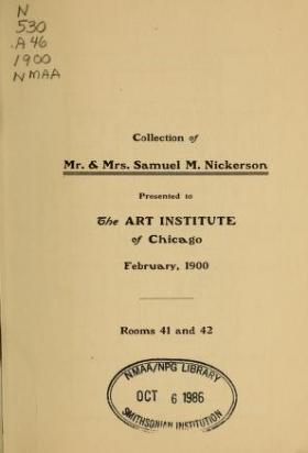 """Cover of """"Collection of Mr. & Mrs. Samuel M. Nickerson"""""""