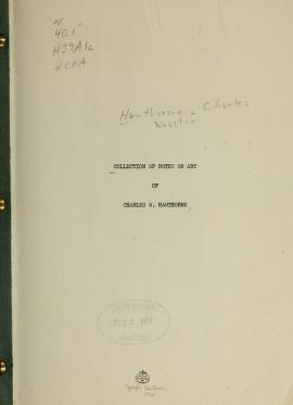 "Cover of ""Collection of notes on art /"""