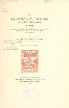 "Cover of ""The colonial furniture of New England"""