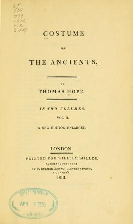 Cover of Costume of the ancients