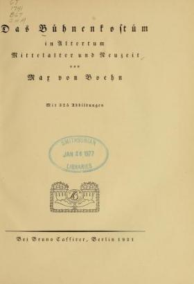 """Cover of """"Das Bühnenkostüm in Altertum, Mittelalter und Neuzeit"""""""
