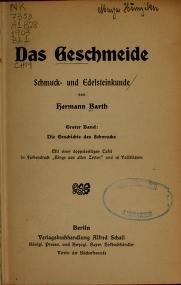 """Cover of """"Das Geschmeide, Schmuck- und Edelsteinkunde /"""""""