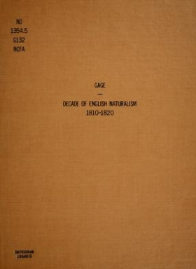 """Cover of """"A decade of English naturalism, 1810-1820"""""""