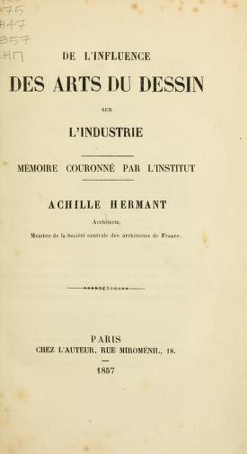 """Cover of """"De l'influence des arts du dessin sur l'industrie"""""""