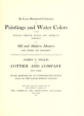 """Cover of """"De luxe illustrated catalogue of paintings and water colors of the Italian, French, Dutch and American schools by old and modern masters and other art property"""""""