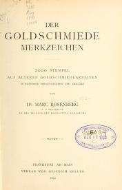 """Cover of """"Der Goldschmiede Merkzeichen"""""""