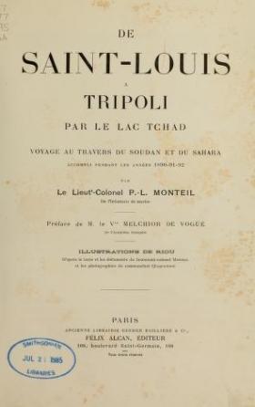 Cover of De Saint-Louis a Tripoli par le Lac Tchad
