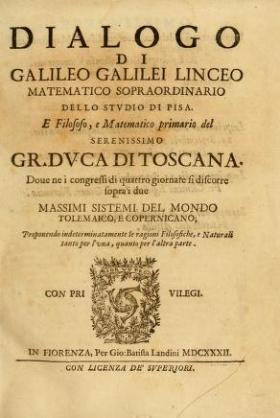 """Cover of """"Dialogo di Galileo Galilei Linceo matematico sopraordinario dello studio di Pisa. E filosofo"""""""