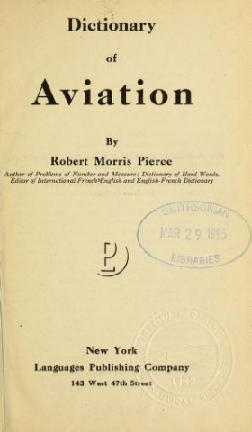 """Cover of """"Dictionary of aviation"""""""