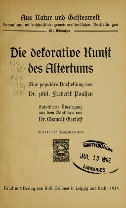 "Cover of ""Die dekorative kunst des altertums"""