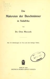 """Cover of """"Die Malereien der Buschmänner in Südafrika"""""""