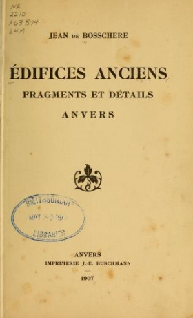 "Cover of ""Édifices anciens"""