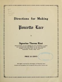 """Cover of """"Directions for making Poncetto lace /"""""""