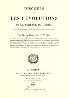 """Cover of """"Discours sur les révolutions de la surface du globe et sur les changemens qu'elles ont produits dans le régne animal /"""""""