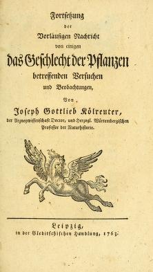 """Cover of """"D. Joseph Gottlieb Kölreuters Vorläufige Nachricht von einigen das Geschlecht der Pflanzen betreffenden Versuchen und Beobachtungen"""""""