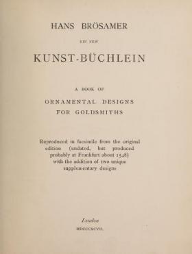 """Cover of """"Ein new Kunst-Büchlein"""""""