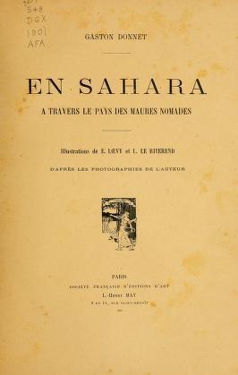 """Cover of """"En Sahara à travers le pays des Maures nomades"""""""