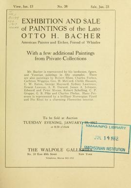"""Cover of """"Exhibition and sale of paintings of the late Otto H. Bacher"""""""