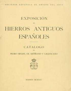 """Cover of """"Exposición de hierros antiguos españoles"""""""