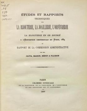 """Cover of """"Études et rapports techniques sur la bijouteri"""""""