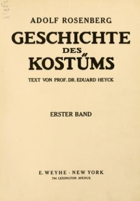 """Cover of """"Geschichte des Kostüms"""""""