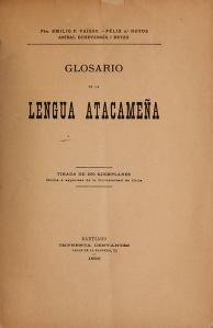 """Cover of """"Glosario de la lengua atacameña"""""""
