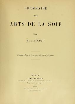 """Cover of """"Grammaire des arts de la soie"""""""