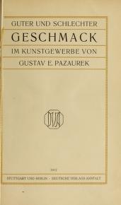 """Cover of """"Guter und schlechter Geschmack im Kunstgewerbe"""""""