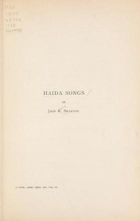 "Cover of ""Haida songs"""
