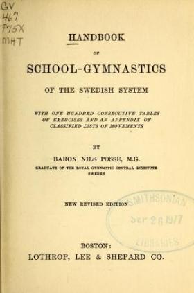 "Cover of ""Handbook of school-gymnastics of the Swedish system"""