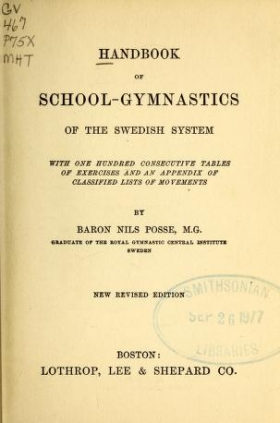 "Cover of ""Handbook of school-gymnastics of the Swedish system"""