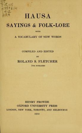 """Cover of """"Hausa sayings & folk-lore"""""""