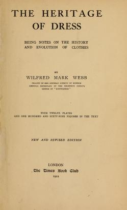 Cover of The heritage of dress