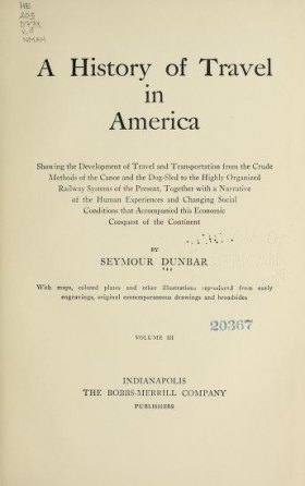 Cover of A history of travel in America