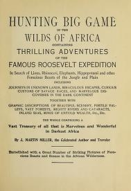 """Cover of """"Hunting big game in the wilds of Africa"""""""