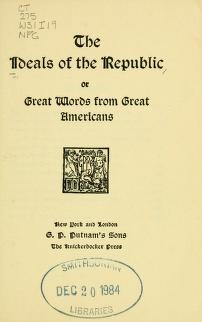 """Cover of """"The Ideals of the republic"""""""