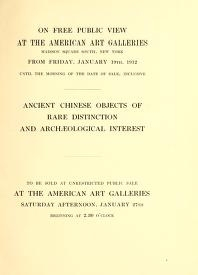 """Cover of """"Illustrated catalogue of a remarkable collection of early Chinese pottery porcelains and bronzes of the Han..."""""""