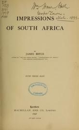 """Cover of """"Impressions of South Africa /"""""""