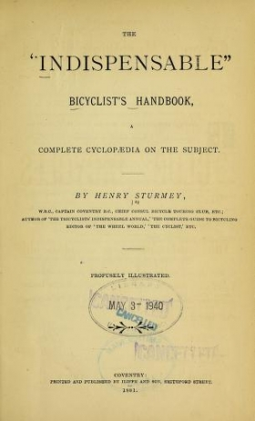 """Cover of """"The """"indispensable"""" bicyclist's handbook"""""""
