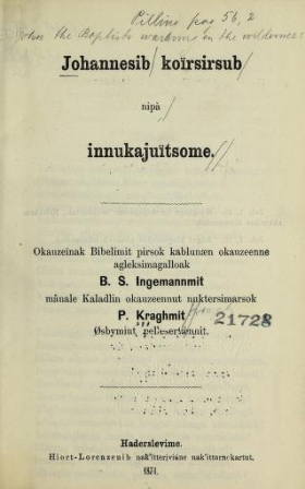 """Cover of """"Johannesib koïrsirsub nipà innukajuïtsome"""""""